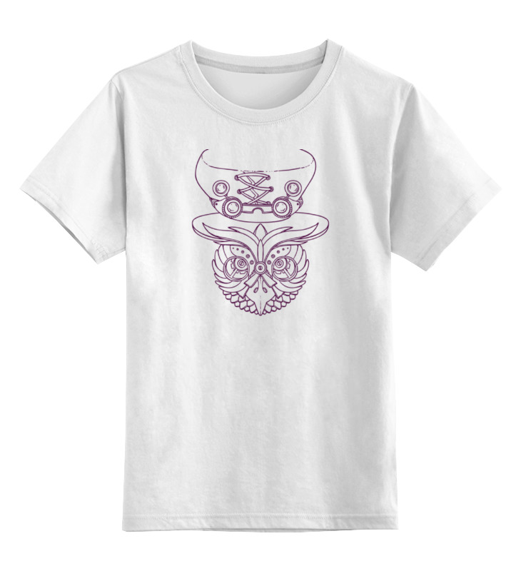 Детская футболка классическая унисекс Printio Механическая сова в шляпе