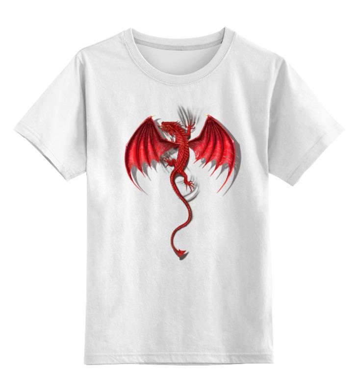 Детская футболка классическая унисекс Printio Красный дракон
