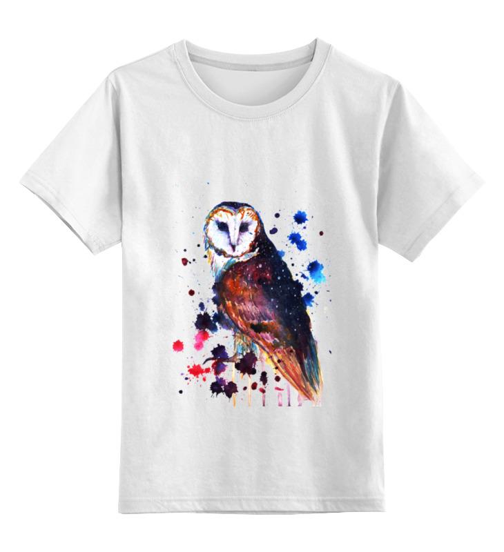 Детская футболка классическая унисекс Printio Акварельная сова цена и фото