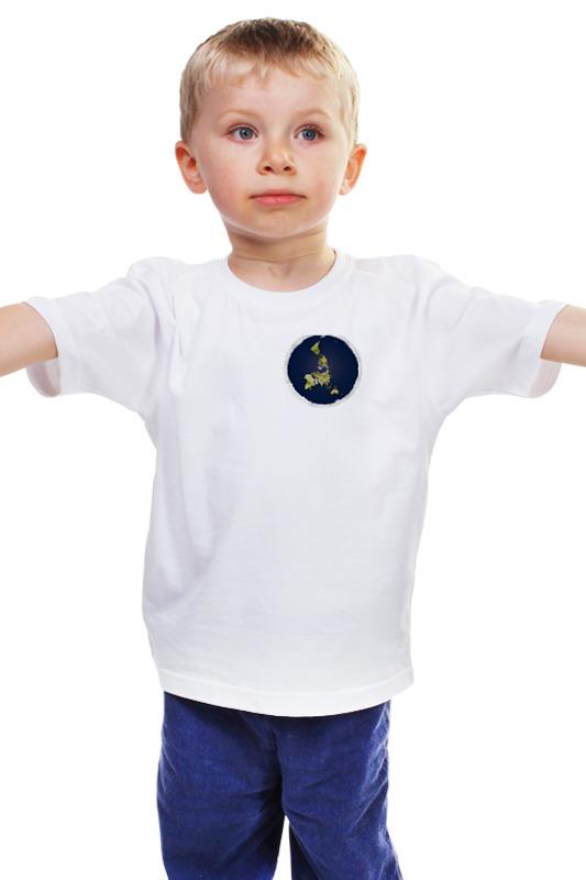 Детская футболка классическая унисекс Printio плоская земля (женская, белая)
