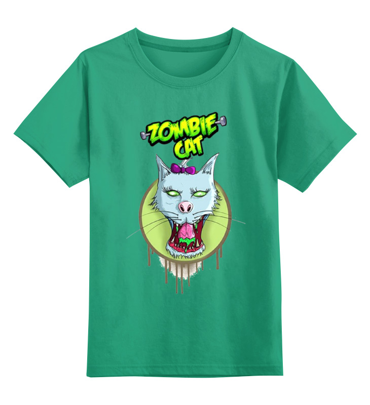 Детская футболка классическая унисекс Printio Zombie cat