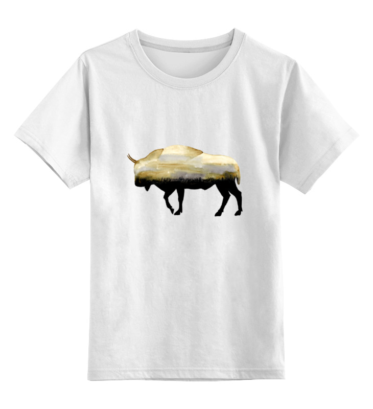 Детская футболка классическая унисекс Printio Бизон