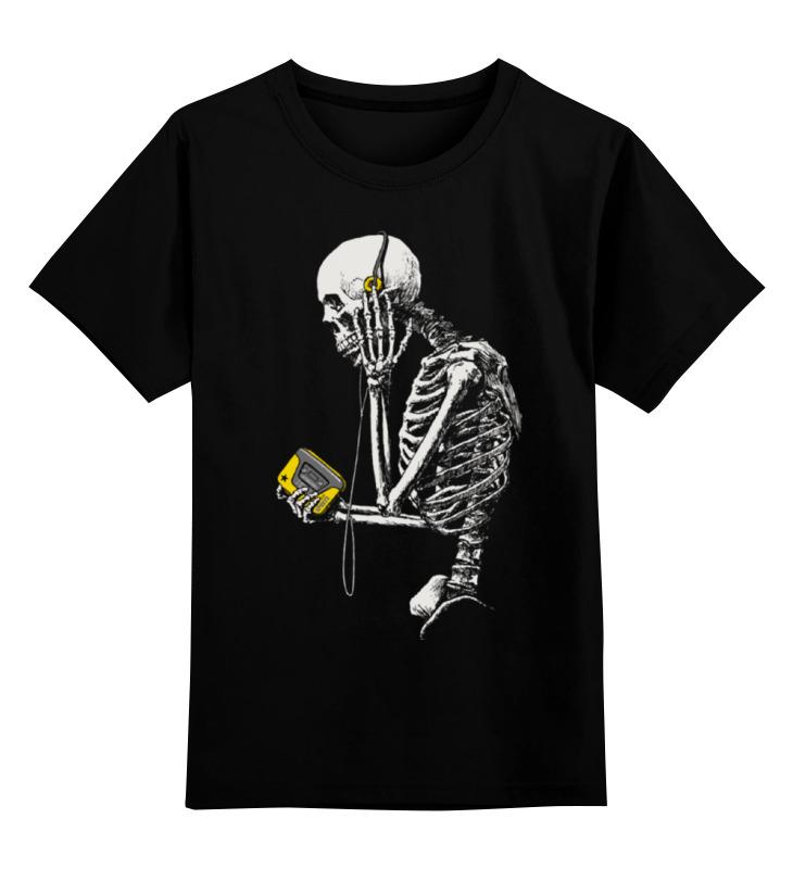 Детская футболка классическая унисекс Printio Скелет с плеером