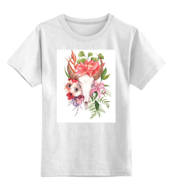 Детская футболка классическая унисекс Printio Flower skull цикл палки лыжные с рисунком 105 см цикл