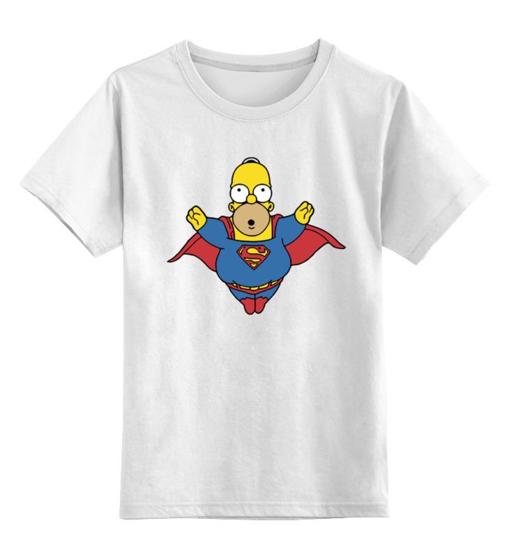 Детская футболка классическая унисекс Printio Гомер супермен цена и фото