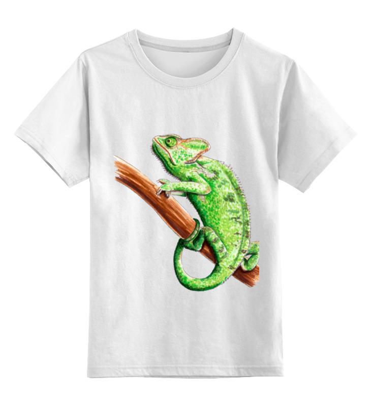 Детская футболка классическая унисекс Printio Зеленый хамелеон на ветке gangxun зеленый цвет