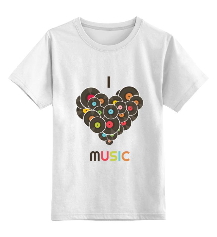 Детская футболка классическая унисекс Printio I love music цена и фото