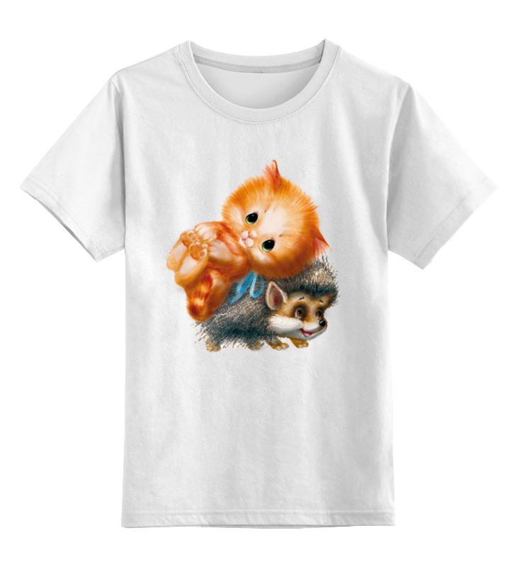Детская футболка классическая унисекс Printio Киска и ёжик цена и фото