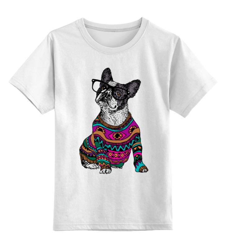 где купить Детская футболка классическая унисекс Printio Собака хипстер по лучшей цене