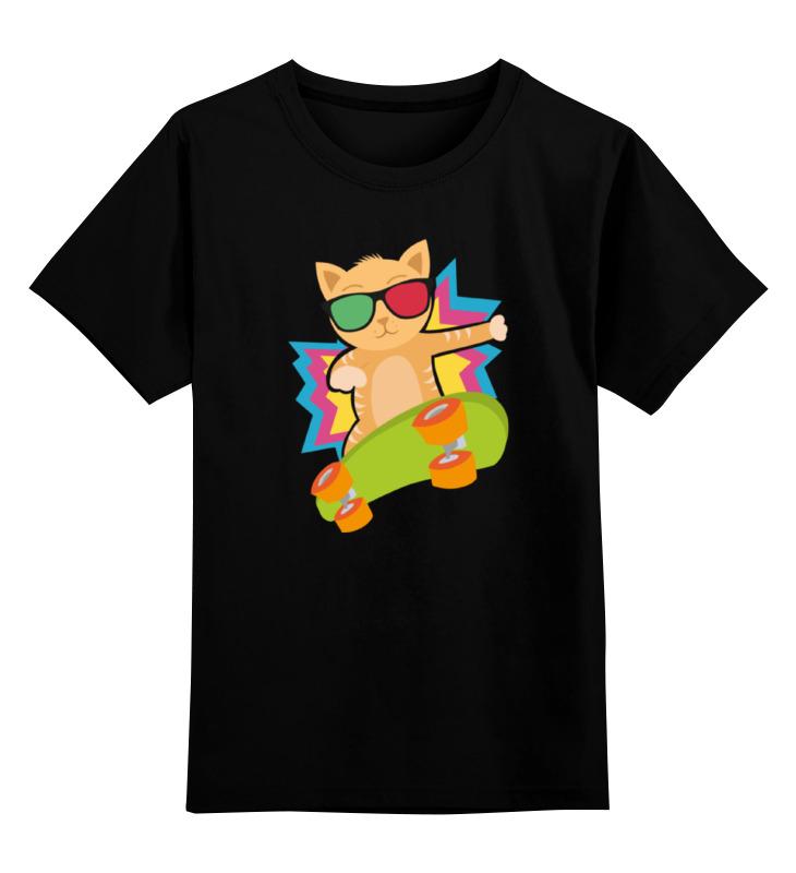 Детская футболка классическая унисекс Printio Кот на скейте детская футболка классическая унисекс printio дракула на скейте