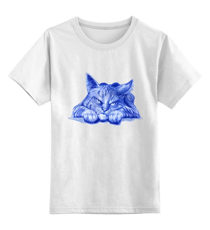 Детская футболка классическая унисекс Printio Задумчивый кот цена и фото