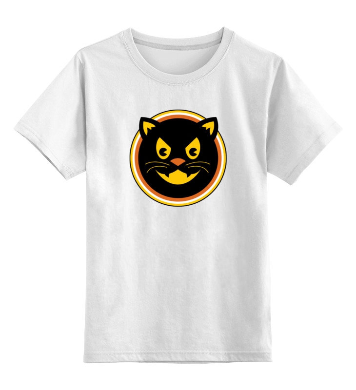 Детская футболка классическая унисекс Printio Черный кот цена и фото