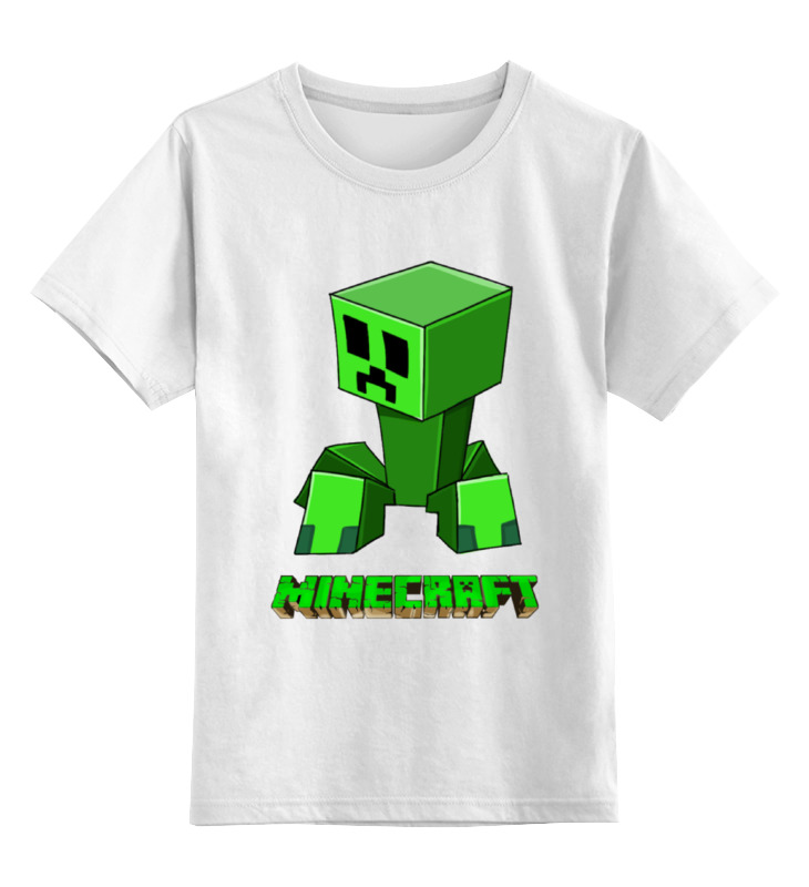 Детская футболка классическая унисекс Printio Minecraft (майнкрафт) creeper (крипер) minecraft creeper backpack back to school back pack for teenagers all for school high quality zipper creeper book ba bagpack