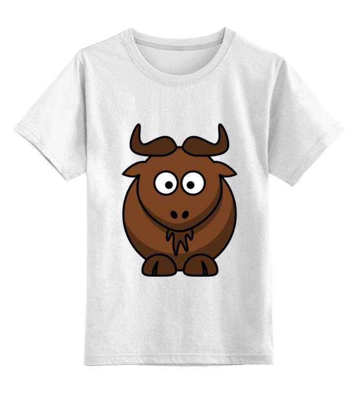 Детская футболка классическая унисекс Printio Коричневый бык