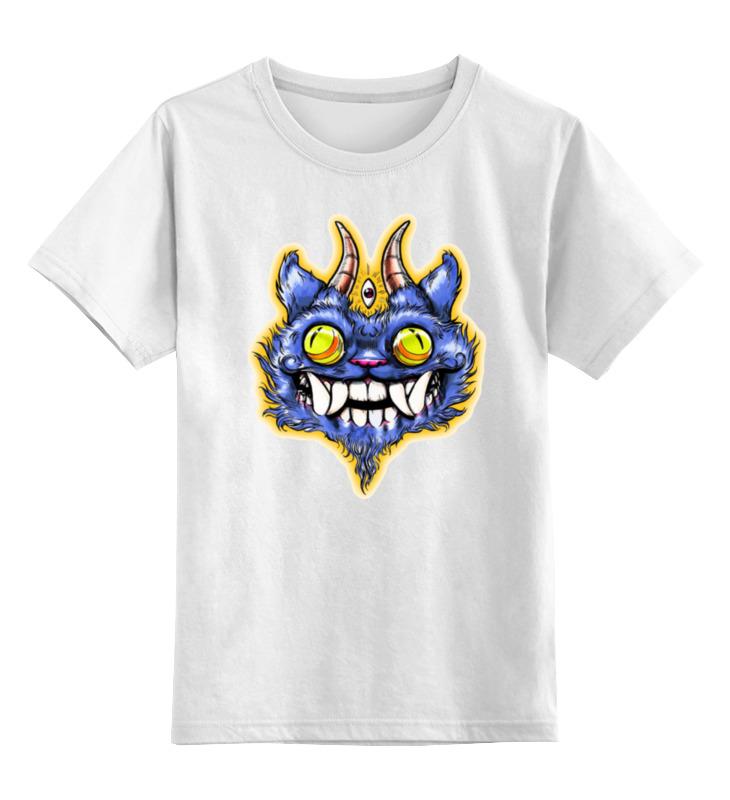 Детская футболка классическая унисекс Printio Кот с рогами цена и фото