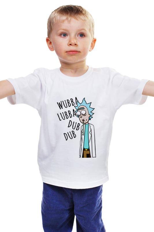 Детская футболка классическая унисекс Printio Рик wubba lubba dub dub dub jachmennyj 706 c1