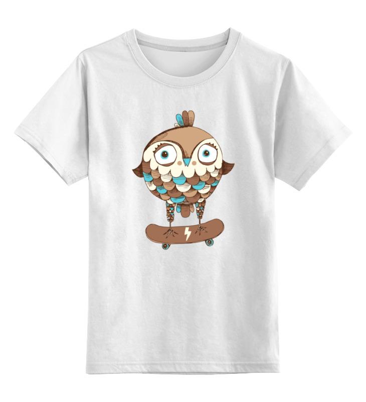 Детская футболка классическая унисекс Printio Сова на скейте цена и фото