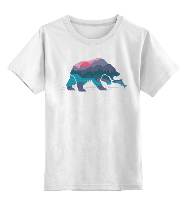 Детская футболка классическая унисекс Printio Медведь на рыбалке цена 2017