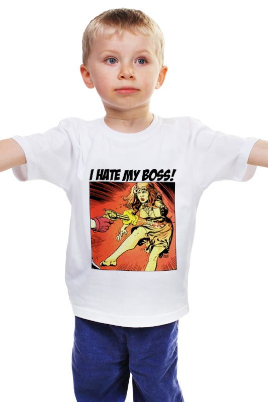 Детская футболка классическая унисекс Printio I hate my boss!