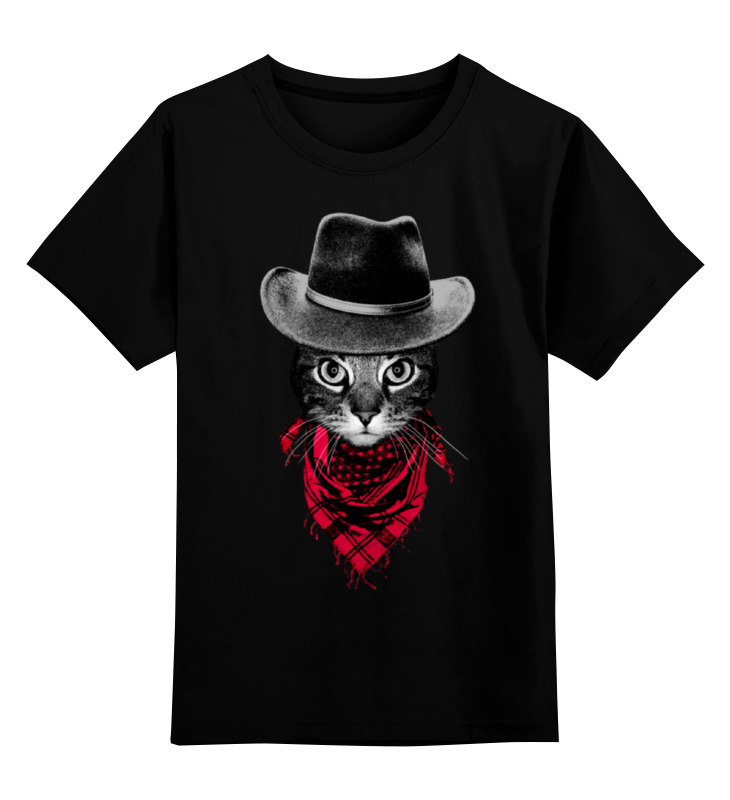 цена Детская футболка классическая унисекс Printio Кот ковбой