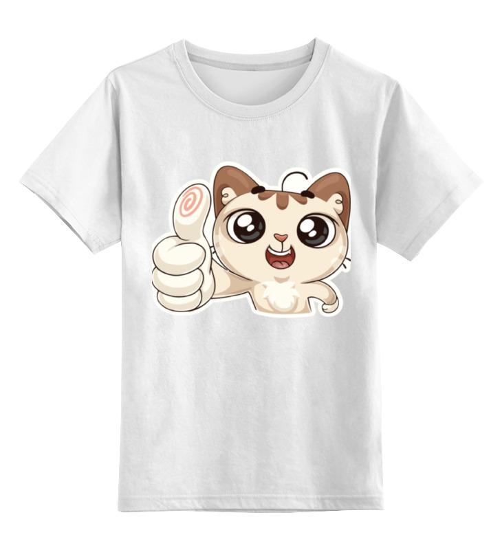 Детская футболка классическая унисекс Printio Вк стикер котик цена