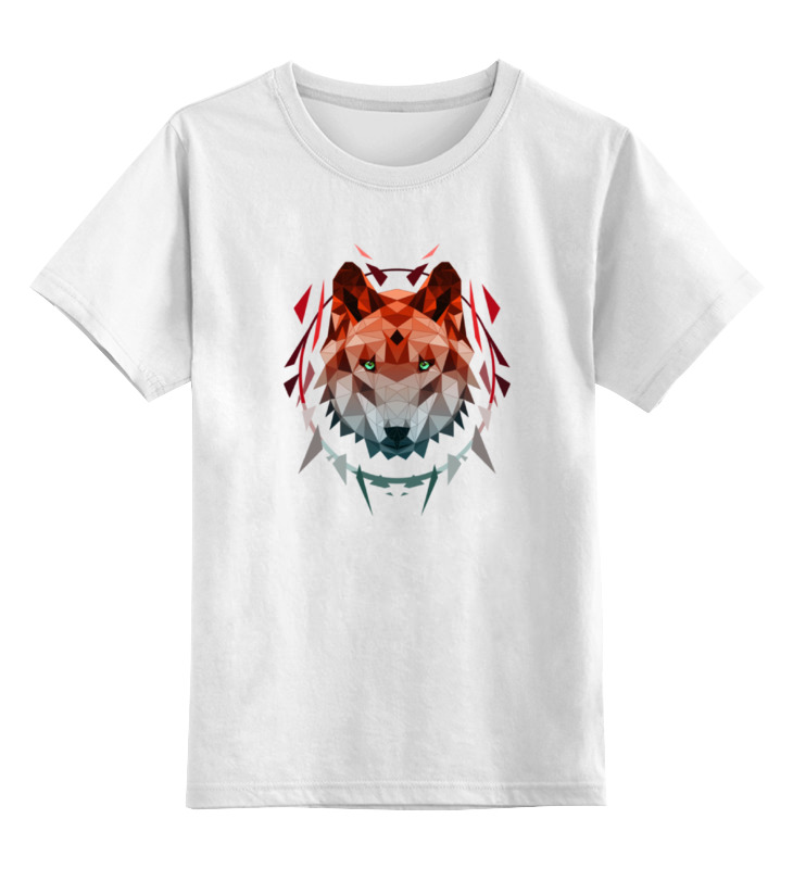 Детская футболка классическая унисекс Printio Геометрический волк все цены