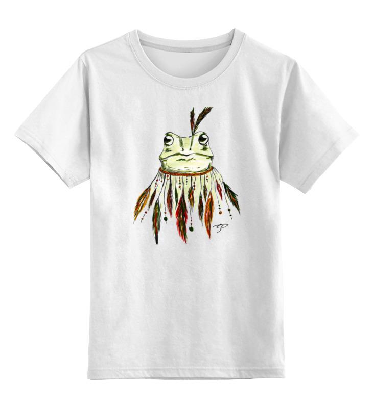 Детская футболка классическая унисекс Printio Лягушка индеец цена и фото