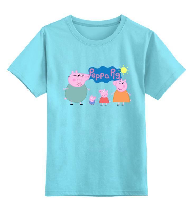 Детская футболка классическая унисекс Printio Свинка пеппа книжка раскраска с наклейками синяя свинка пеппа