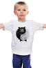 """Детская футболка классическая унисекс """"Угрюмый Кот Инь-Янь"""" - cat, инь и ян, grumpy cat, угрюмый кот"""