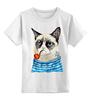 """Детская футболка классическая унисекс """"Грустный Кот"""" - приколы, cat, котэ, трубка, grumpy, sailor, моряк"""