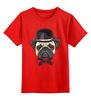 """Детская футболка классическая унисекс """"Мопс."""" - бабочка, dog, pug, собака, мопс"""