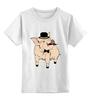 """Детская футболка классическая унисекс """"Джельтенмен"""" - стиль, джентельмен, hat, хипстер, усы, поросенок, hipster, mustache, gentleman, pig"""
