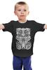 "Детская футболка классическая унисекс ""Tribal"" - skull, череп, tribal, black n white"