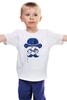 """Детская футболка классическая унисекс """"Влюбленный велосипедист"""" - любовь, сердца, усы, валентин, moustache"""