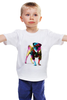 """Детская футболка классическая унисекс """"Мопс-космос"""" - радуга, dog, pug, космос, собака, цветная, мопс, suit"""