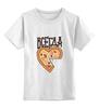 """Детская футболка классическая унисекс """"Без названия"""" - парные, ко дню влюбленных, мышь и пицца, всегда вместе, надписи для двоих"""