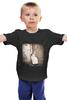"""Детская футболка классическая унисекс """"kitten"""" - кот, черное, cat, черно-белое, сепия"""