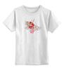 """Детская футболка классическая унисекс """"бумажный журавлик"""" - узор, красный, акварель, бумажный журавлик, завитки"""