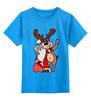 """Детская футболка классическая унисекс """"Дед мороз с оленем"""" - праздник, новый год, радость, дед мороз, олень"""