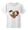 """Детская футболка классическая унисекс """"Любить друг друга вечно"""" - сердце, цветы, черепа, акварель"""