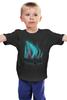"""Детская футболка """"Полярное сияние"""" - космос, абстракция, волки, полярное сияние"""