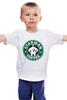 """Детская футболка классическая унисекс """"Starman Coffee """" - пародия, кофе, starbucks, старбакс, starman"""