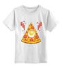 """Детская футболка классическая унисекс """"Кусочек Пиццы (Pizza)"""" - пицца, pizza, колбаска, яичко"""
