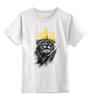 """Детская футболка классическая унисекс """"Лев в короне"""" - king, корона, лев, царь зверей, crown"""