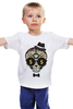 """Детская футболка классическая унисекс """"Череп в шляпе и бабочке"""" - skull, череп, арт, hat"""