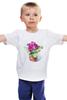 """Детская футболка классическая унисекс """"цветы """" - арт, цветы, акварель, герань"""