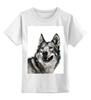 """Детская футболка классическая унисекс """"Добродушный волк"""" - хищник, animal, волк, wolf"""