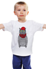 """Детская футболка классическая унисекс """"Cat Hipster"""" - кот, лето, смешные, полоска, прикольные, очки, cat, дизайн, креатив, хипстер"""
