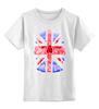 """Детская футболка классическая унисекс """"Skull Art"""" - british flag, skull, uk, британский флаг, череп"""