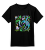 """Детская футболка классическая унисекс """"Русалка и Дракон"""" - животные, дракон, растения, хохлома, русалка"""